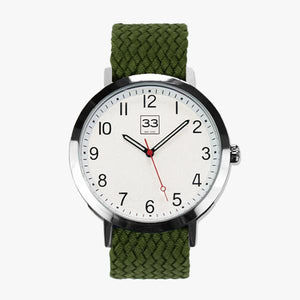 Watch with green strap