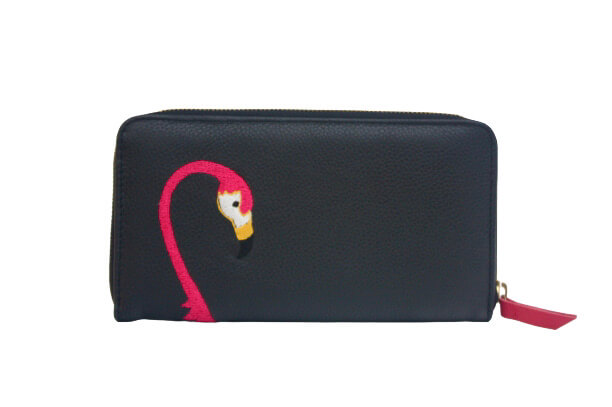 black leather purse with pink flamingo embroidery