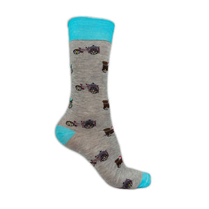 grey and blue cotton socks