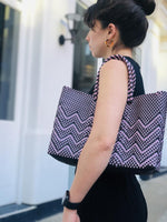 Load image into Gallery viewer, Purple and black pattern woven bag on shoulder