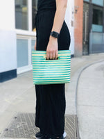 Load image into Gallery viewer, Green and white handmade clutch bag