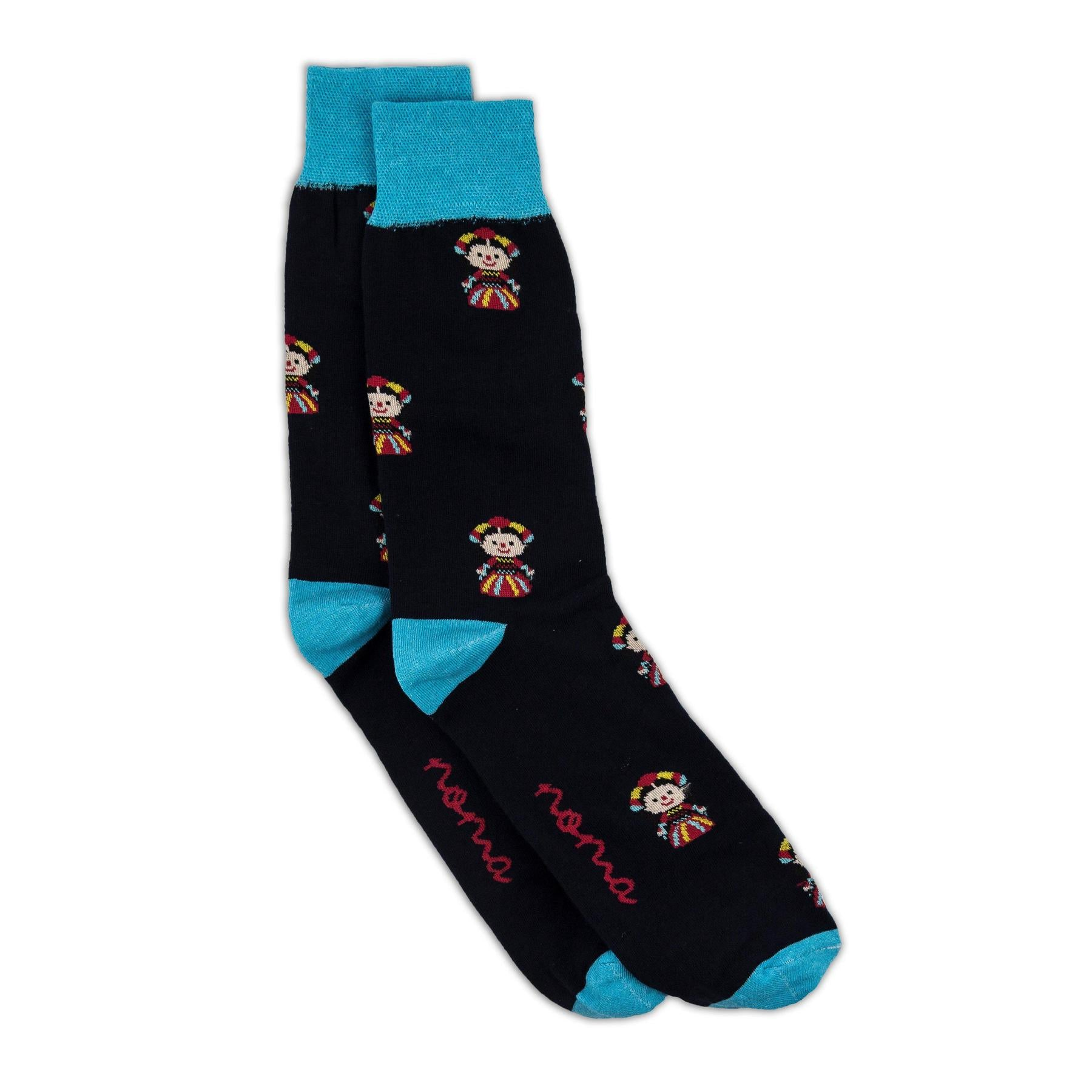 Black and blue mexican pattern socks
