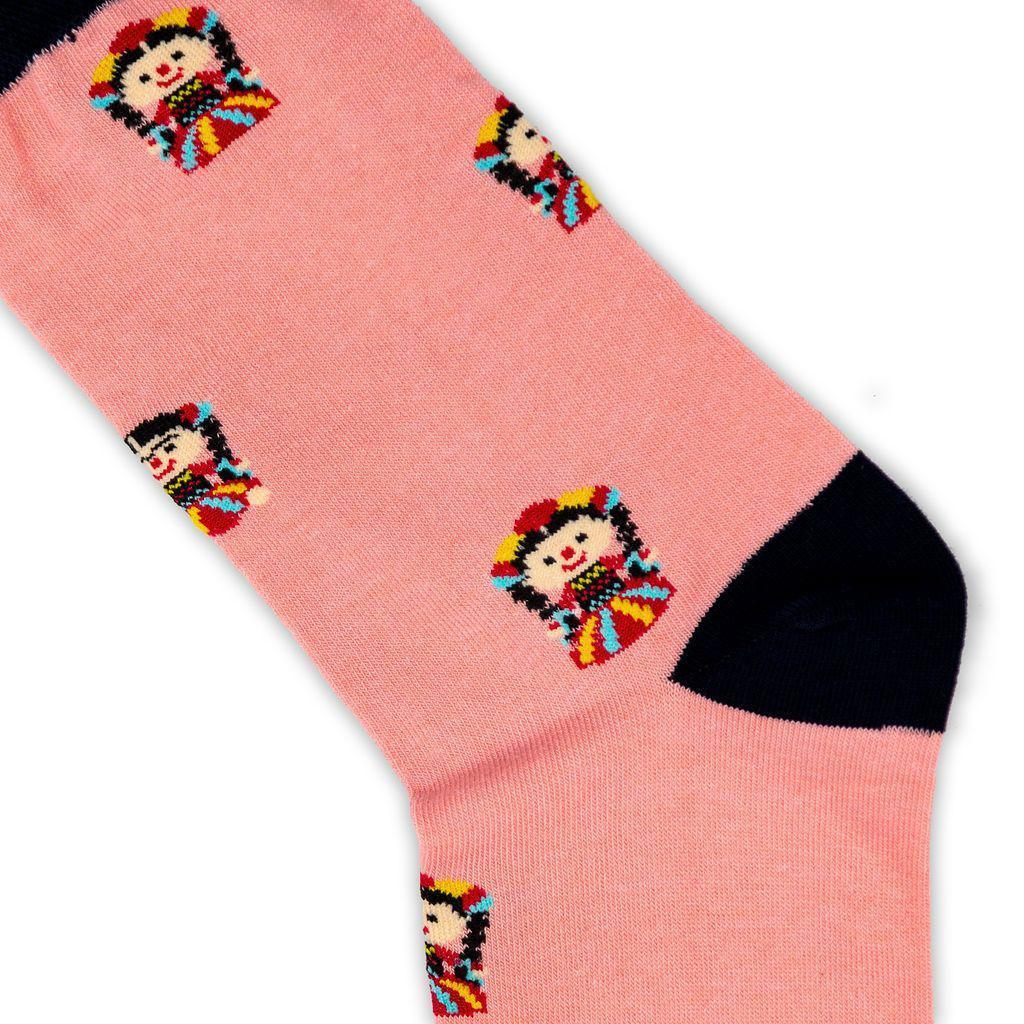 pink socks with colourful doll pattern