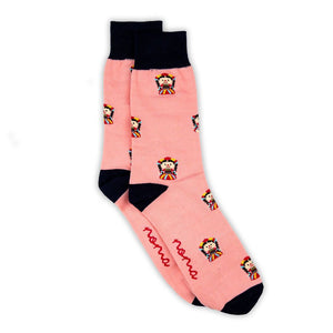 Pink and black cotton socks