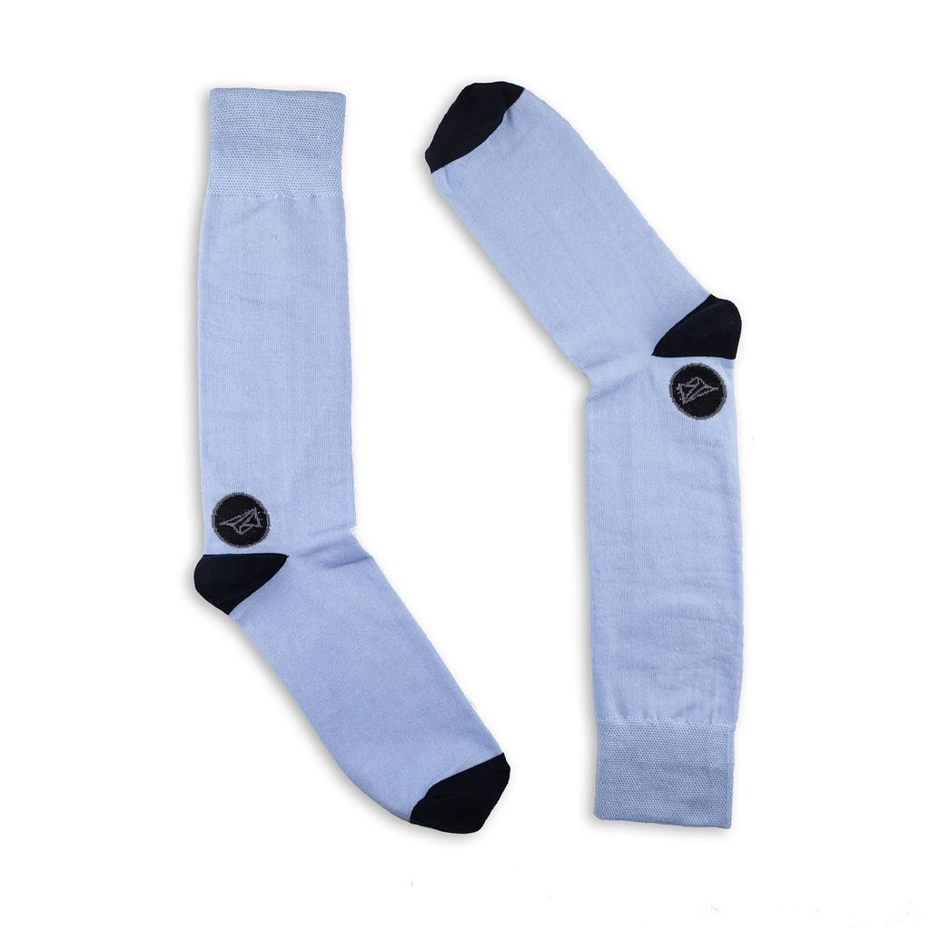 pale blue cotton socks with black heel and toes