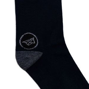 closeup of black and grey cotton socks