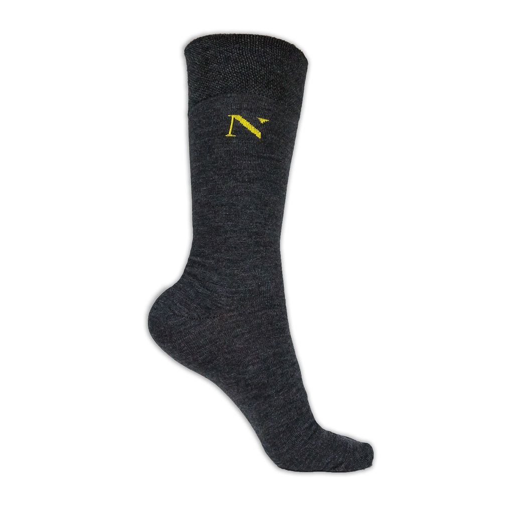 plain grey cotton socks with yellow logo