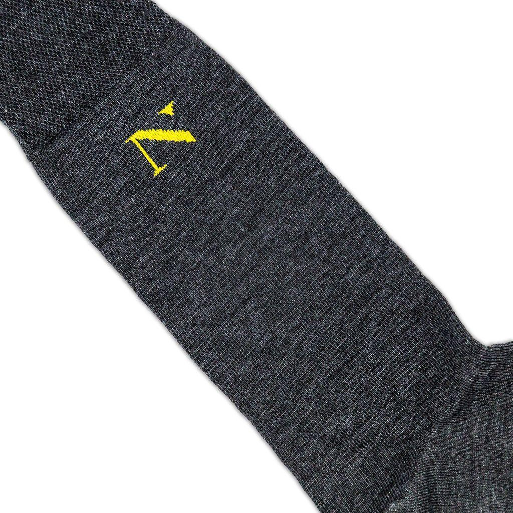 grey formal socks with gold logo