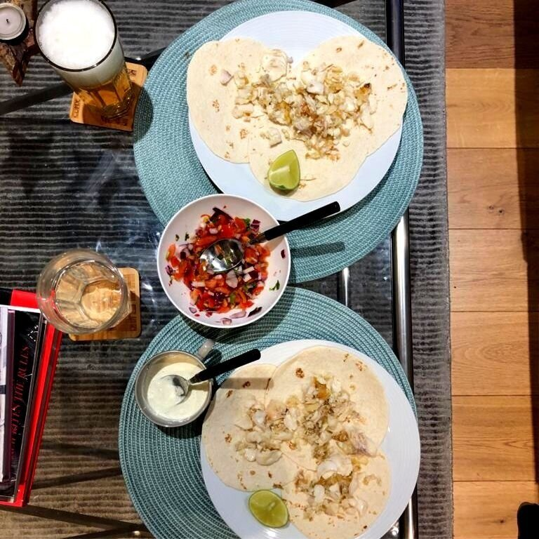 Homemade Mexican tacos and beer at home