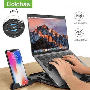 Height Adjustment Laptop Stand For Macbook Lenovo Computer 360 Degree Rotating Bottom Notebook Cooling Pad Bracket Phone Stand