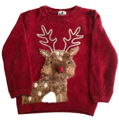 Age 4 - 5 Velvet Soft Red  Rudolph Christmas Jumper
