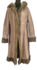 Size 12-14 Peter Davis Beige Faux Fur Afghan Coat Jacket