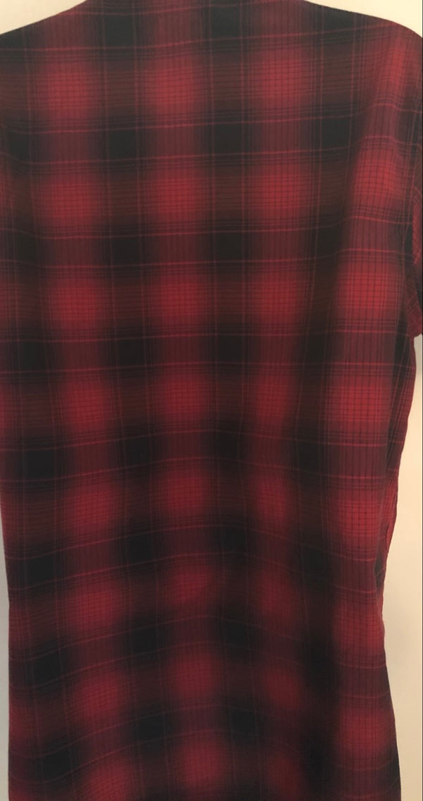 Small Skateboarding OBEY Red Checked Short Sleeve Casual Shirt