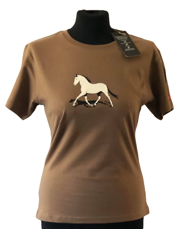 Ladies Organic  Ethical Equestrian Horse Design Ladies Fitted T-Shirt New  8 10 12 14
