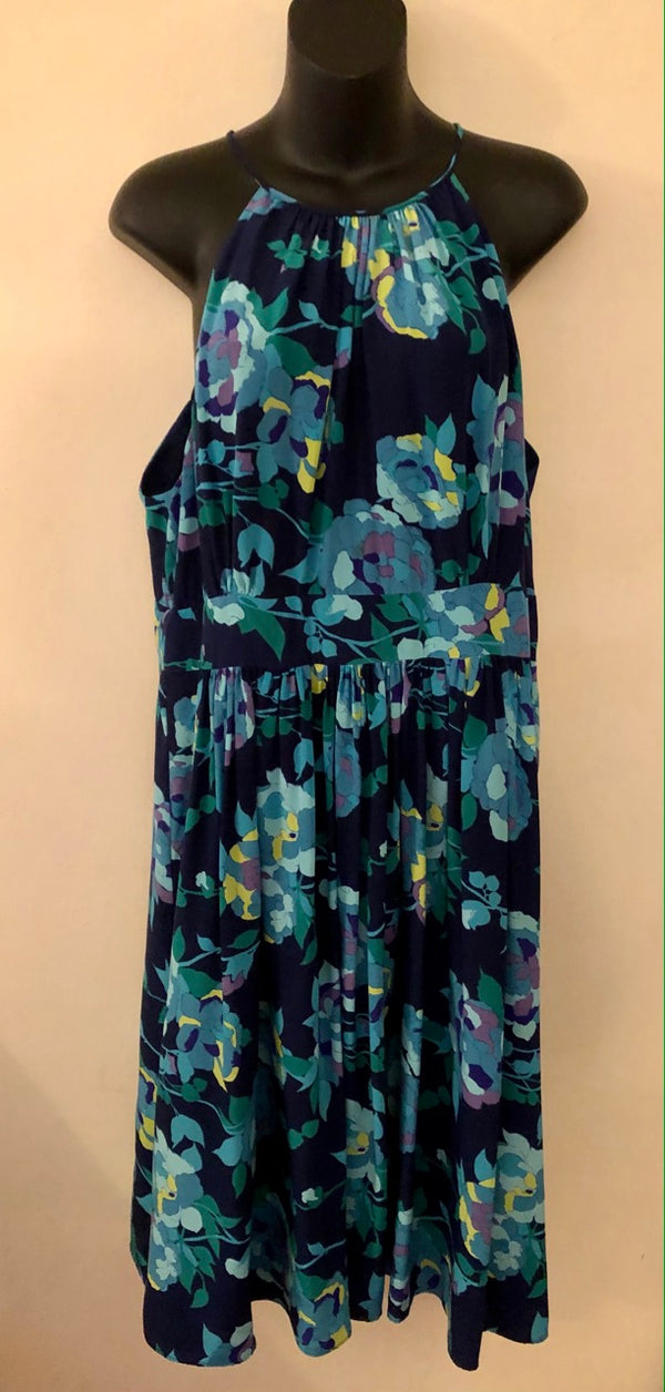 Size 14-16 Coast Royal Blue Flowered Occasion Silk Dress