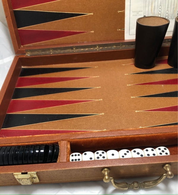 Vintage Backgammon In Leatherette Case - Excellent Condition