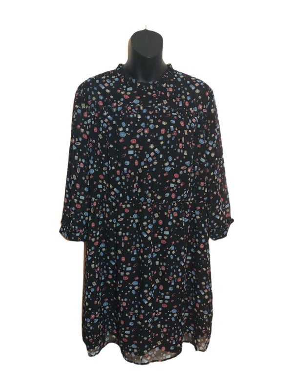 Size 18  Look Again Patterned Black Tea Dress New