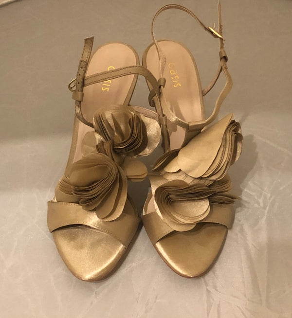 Uk 6 - 39 Oasis Gold Liffy Satin Strappy Shoes