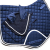 Matching Jumping Saddlecloth and Fly Veil Navy  - Full  with Embroidery