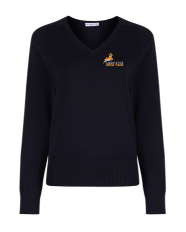 Age 11 Deer Park Uniform  - Navy cotton v-neck jumper embroidered with school crest Size XXS