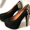 Size 4 Jefferey Campbell Ladies Black Suede studded Platform Shoes