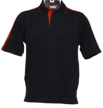 Kustom kit KK616 Mens Black Red Sports Polo shirt  New
