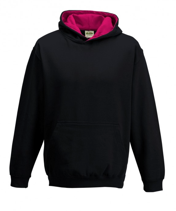 Age 9 -11 Black & Pink AWD JH003J Hooded Sweatshirt New