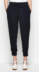 Size 12 Jack Wills Navy Spot Slouchy Chillworth Crepe Trousers  New without Tags Rrp £69.50