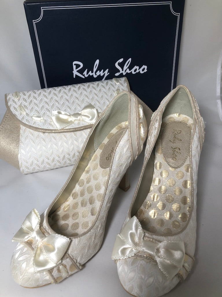 Size 5.5-6 Ruby Shoo Amy Cream Gold Wedding Shoes with Bag