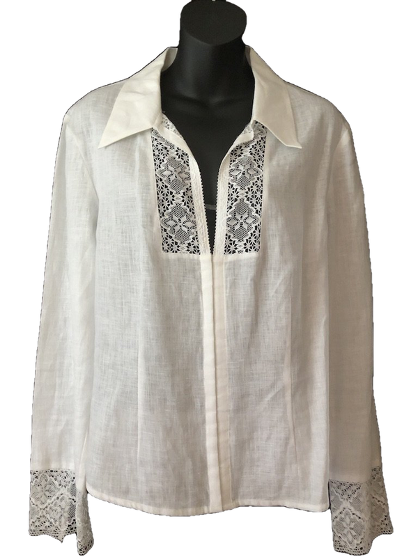 Size 14-16 Debenhams Cream Long Sleeve Lace Detail 100% Linen Blouse