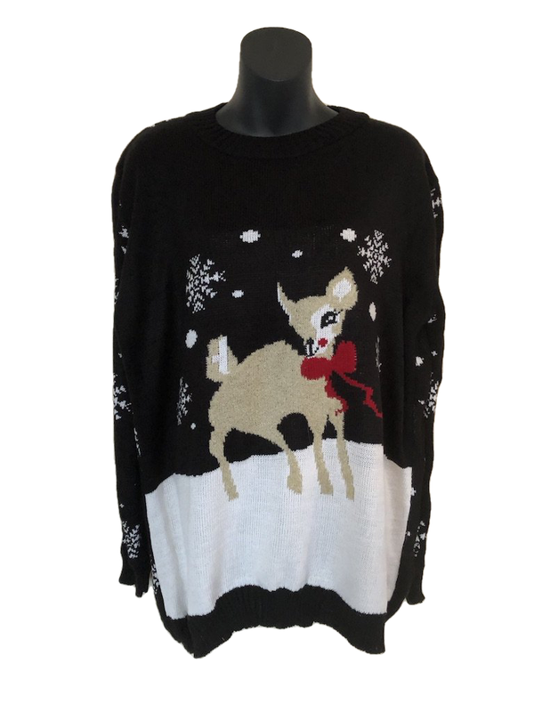 Size 14-16 Pulse Black Bambi Ladies Christmas Jumper
