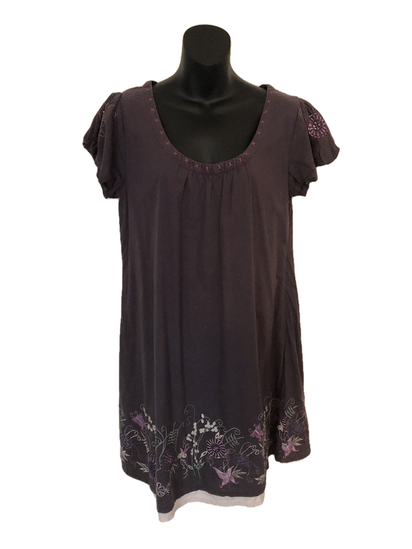 Size 12 Pretty Mistral Purple Embroidered Tunic Dress Top