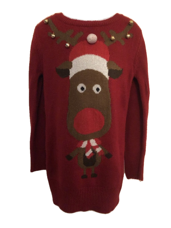 Age 11 - 12 Red Rudolph Christmas Long Jumper with Bells