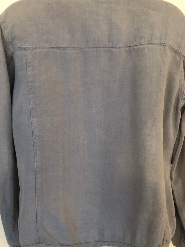Size 12 Pale Green 100% Linen Jackpot By Carli Gray Vintage Jacket