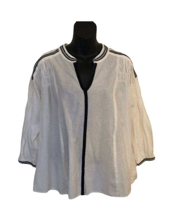 Size 12 Monsoon White ethnic Ladies Linen Mix Top