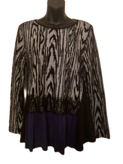 Size 14-16  Maloka Boho Black Navy & White  Fine Knit Jumper
