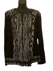 Size 14-16  Maloka  Black & White  Fine Knit Cardigan