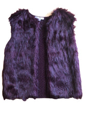 Age 6 - 7 Burgundy Knitted & Faux Fur Girls Boho Gilet