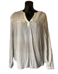 Size 8 Next Cream Patterned Gypsy Style Top