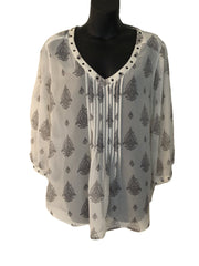 Size 16 Autograph Cream Patterned Sheer Top