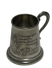Pewter Vintage Hey Diddle Nursery Rhyme Christening Cup