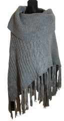 Size 14-16 Grey knitted Wool Poncho New & Tagged