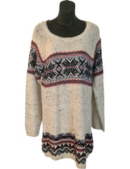 Size 14-16 Fairisle Grey Knit Short Jumper Dress New & Tagged