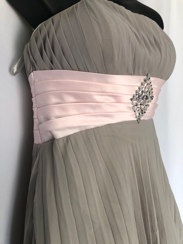 Size 12 Pale Grey & Baby Pink Ball Gown Dress New