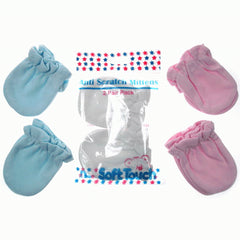 Soft Touch Anti Scratch Baby Mittens in Pink, White or Blue
