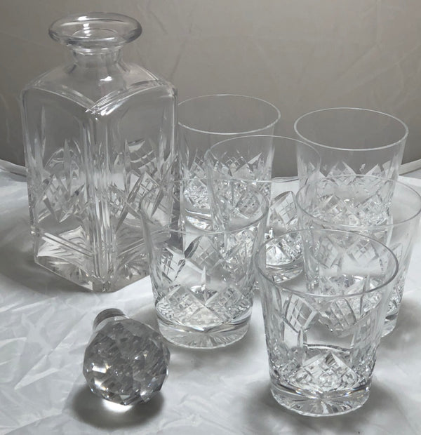 Vintage Square Glass Decanter & Six Glasses