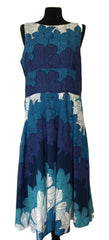 Size 16 Phase Eight Blue Flower 100% Cotton  Dress