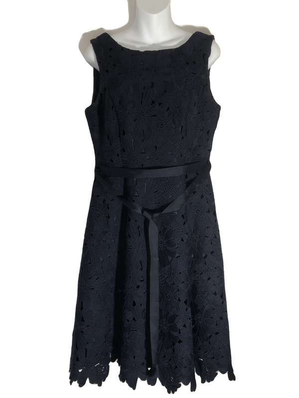 Size 12 Phase Eight Broderie Anglaise Smart Navy Dress