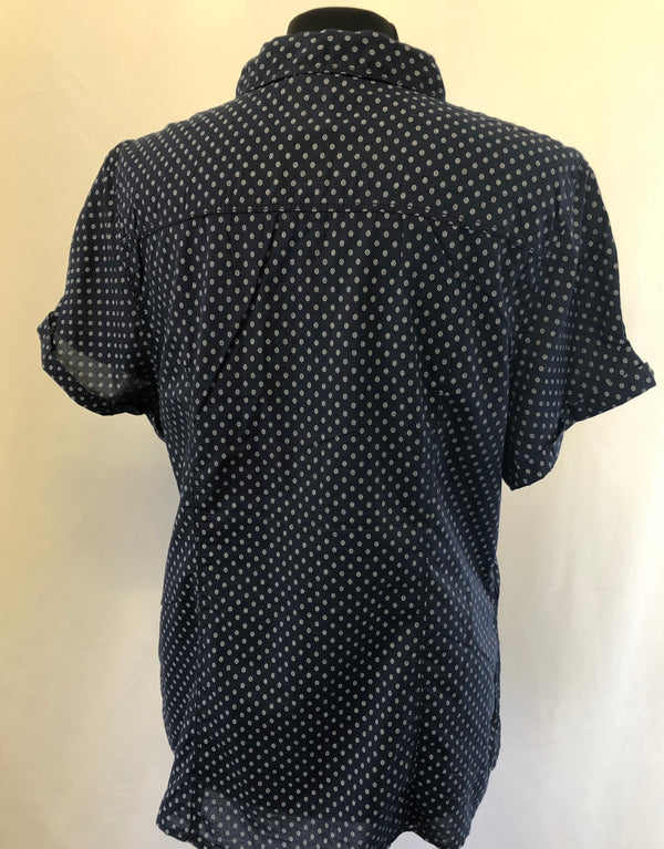 Size 16 Navy White Swirly Spots 100% Cotton Blouse New