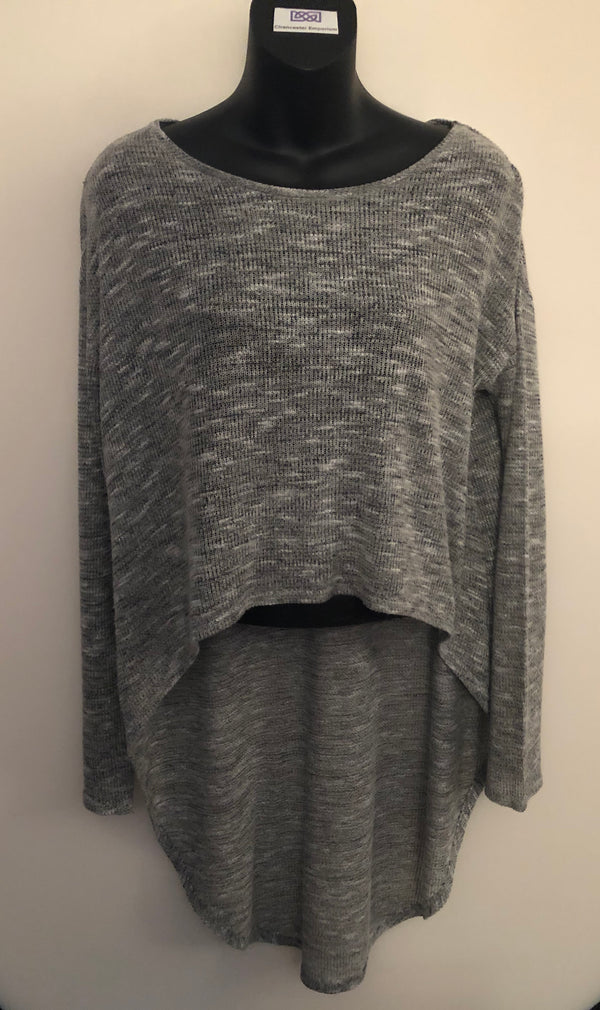 Size 14 Miss Selfridge Grey Oversized Lightweight Knit Top